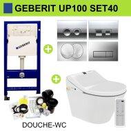 Geberit UP100 Toiletset set33 Idevit Alfa Rimfree Keramiek Diepspoel 36x52x30cm met Delta drukplaat