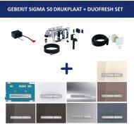 Bedieningsplaat Geberit Sigma 50 DF + DuoFresh Geurzuiveringssysteem Spiegelend Rookglas