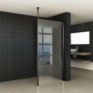 BWS Safetyglass Inloopdouche Verticale Stang 100x200 10mm Nano Coating Mat Zwart