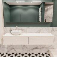 Badkamermeubel BWS Madrid Wit 180 cm met Massief Topblad en Keramische Waskom Links (2 lades, 1 kraangat)