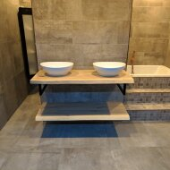 Badkamermeubel BWS Woodstone Twee Bovenbladen met Boomstamkant 140 cm (met beugels en waskommen)