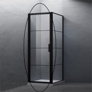 BWS Nisdeur Frame 90x200 cm 8 mm NANO Glas Mat Zwart Raster
