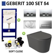 Geberit UP100 Toiletset Set54 Wandcloset Salenzi Civita Mat Antraciet en Delta Drukplaat