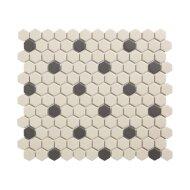 Mozaïek London 26x30 cm Onverglaasd Porselein Hexagon, Wit En Zwart 18 Stippen (Prijs Per 0.78 m2)
