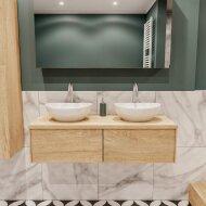 Badkamermeubel BWS Madrid Washed Oak 120 cm met Massief Topblad en Keramische Waskom Dubbel (2 lades, 2 kraangaten)