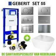 Geberit UP320 Toiletset set55 BWS Plana Rimless Mat Wit Met Sigma Drukplaat