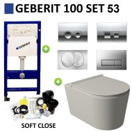 Geberit UP100 Toiletset Set53 Wandcloset Salenzi Civita Mat Grijs en Delta Drukplaat