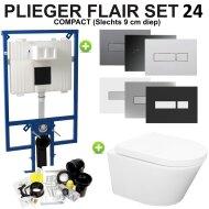 Plieger Flair Compact Toiletset set24 Wiesbaden Vesta Rimless 52 cm met Flair drukplaat