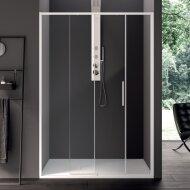 Schuifdeur Lacus Torcello Tweedelig Helder Glas 100x200 cm Aluminium Profiel Wit