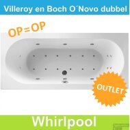 OUTLET Ligbad Villeroy & Boch O.novo 190x90 cm Balboa Whirlpool systeem Dubbel COMPLEET