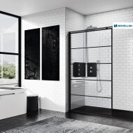 Inloopdouche Novellini Kuadra H Stripes 140x200 cm Helder Glas Mat Zwart Profiel