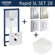 Grohe Rapid SL Toiletset set28 Boss & Wessing Zero Compact 49.5cm met Grohe Arena of Skate drukplaat