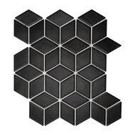 Mozaïek Paris 26.6x30.5 cm Geglazuurd Porselein, Kubus Mat Zwart (Prijs Per 0.81 m2)