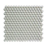 Mozaïek Venice Pennyround 31.5x29.4 cm Geglazuurd Porselein, Rond Glanzend Licht Grijs Met Rand (Prijs Per 0.93 m2)