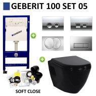 Geberit UP100 set05 Creavit TP325 Zwart met Delta drukplaat