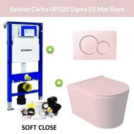 Geberit UP320 Toiletset Wandcloset Salenzi Civita Mat Roze met Sigma 01 Drukplaat