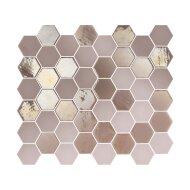 Mozaïek Valencia 27.8x32.5 cm Recycled Glas, Hexagon Mat En Glanzend Roze (Prijs Per 1.00 m2)