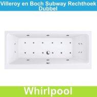 Ligbad Villeroy & Boch Subway 190x90 cm Balboa Whirlpool systeem Dubbel | Tegeldepot.nl