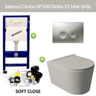 Geberit UP100 Toiletset Wandcloset Salenzi Civita Mat Grijs met Delta 21 Drukplaat