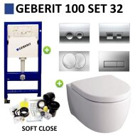 Geberit UP100 Toiletset set32 Sphinx serie 345 Randloos 6 ltr met Delta drukplaat