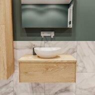 Badkamermeubel BWS Madrid Washed Oak 80 cm met Massief Topblad en Keramische Waskom (0 kraangaten)