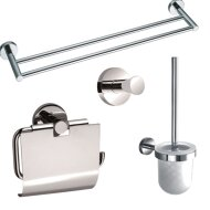 Toiletset accessoires Sanilux Alesa handdoekrek + jashaak + toiletrolhouder + toiletborstel Chroom