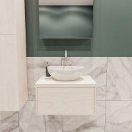 Badkamermeubel BWS Madrid Wit 60 cm met Massief Topblad en Keramische Waskom (1 kraangat)