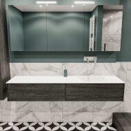Badkamermeubel BWS Madrid Antraciet 180x45x30 cm Mat Witte Solid Surface Wastafel Rechts (0 kraangaten, 2 lades)