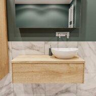 Badkamermeubel BWS Madrid Washed Oak 100 cm met Massief Topblad en Keramische Waskom Rechts (0 kraangaten)