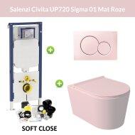 Geberit UP720 Toiletset Wandcloset Salenzi Civita Mat Roze met Sigma 01 Drukplaat