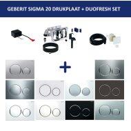 Bedieningsplaat Geberit Sigma 20 + DuoFresh Geurzuiveringssysteem Wit Met Matverchroomde Toetsen