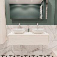 Badkamermeubel BWS Madrid Wit 120 cm met Massief Topblad en Keramische Waskom Dubbel (2 kraangaten)