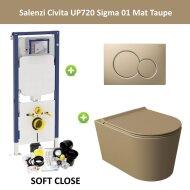 Geberit UP720 Toiletset Wandcloset Salenzi Civita Mat Taupe met Sigma 01 Drukplaat