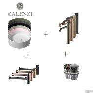 Salenzi Waskomset Hide Circle 40x12 cm Inclusief Hoge Kraan (Keuze Uit 6 Kleuren)