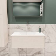 Badkamermeubel BWS Madrid Wit 80x45x30 cm Mat Witte Solid Surface Wastafel (1 kraangat)