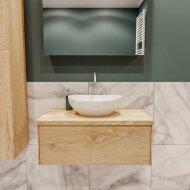 Badkamermeubel BWS Madrid Washed Oak 80 cm met Massief Topblad en Keramische Waskom (1 kraangat)