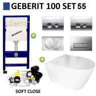 Geberit UP100 Toiletset Set55 BWS Plana Randloos Mat Wit Met Delta drukplaat