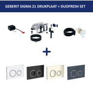 Bedieningsplaat Geberit Sigma 21 + DuoFresh Geurzuiveringssysteem Glas Zwart