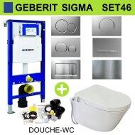 Geberit UP320 Toiletset 46 Wiesbaden Luxe Douchewc Stroomloos Met Metro Pot Sigma Drukplaat