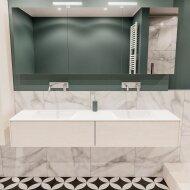 Badkamermeubel BWS Madrid Wit 180x45x30 cm Mat Witte Solid Surface Wastafel Dubbel (2 lades, 0 kraangaten)