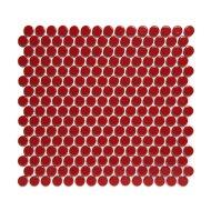 Mozaïek Venice Pennyround 31.5x29.4 cm Geglazuurd Porselein, Rond Glanzend Rood (Prijs Per 0.93 m2)
