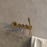 Badkraan Inbouw Set Brauer Gold Edition Thermostatisch met Uitloop en Staaf Handdouche Geborsteld Goud