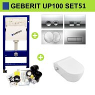 Geberit UP100 Toiletset Set51 Sanilux EasyFlush met Bidet en Delta Drukplaat
