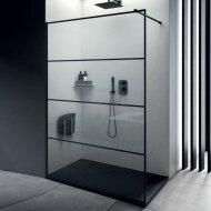 Inloopdouche Lacus Tremiti Wall 150x200 cm Helder Glas Stabilisatiestang Zwart