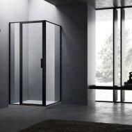 BWS Douchecabine Recta 90 cm Met Vast Paneel Nano Glas Mat Zwart Profiel (ALLE MATEN)
