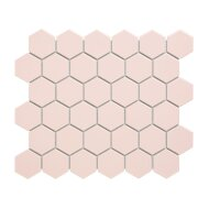 Mozaïek Barcelona 28.1x32.5 cm Verglaasd Porselein Hexagon Glanzend Roze (Prijs Per 0.91 m2)
