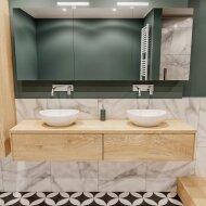 Badkamermeubel BWS Madrid Washed Oak 180 cm met Massief Topblad en Keramische Waskom Dubbel (2 lades, 0 kraangaten)
