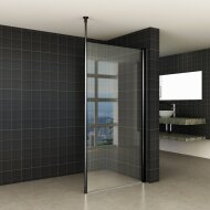BWS Safetyglass Inloopdouche Verticale Stang 90x200 10mm Nano Coating Mat Zwart