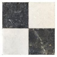 Natuursteen tegels Dambord vloer wit marmer en Turks hardsteen anticato 20x20x1 (Doosinhoud 1 m²)