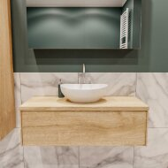 Badkamermeubel BWS Madrid Washed Oak 100 cm met Massief Topblad en Keramische Waskom (1 kraangat)